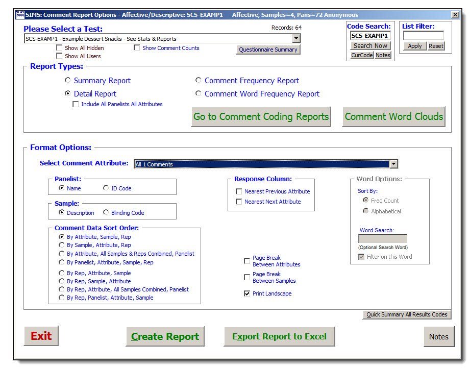 Open-Ended Comment Reports - Sims Sensory Evaluation Testing Software
