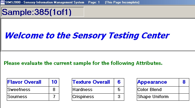 Grouped Intensity Examples - Sims Sensory Evaluation Testing Software